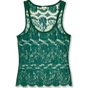 Fossil Green Lace Tank Sheer See Through Small